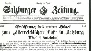 "Newspaper Announcement Opening of the Hotel ""Österreichischer Hof"" (Monday June 4th 1866)"